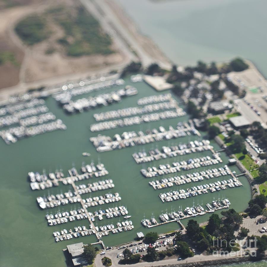 Aerial Photograph - Boats In A Marina by Eddy Joaquim