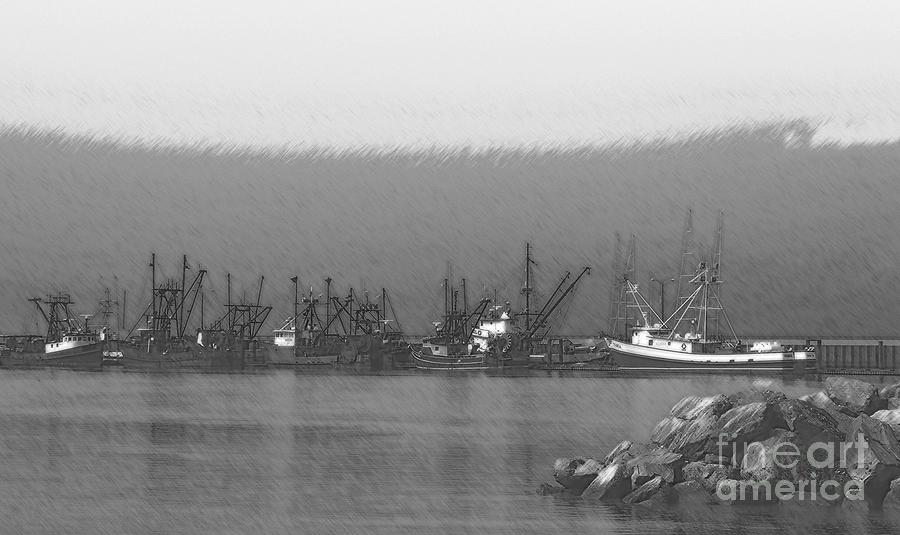 Black And White Digital Art - Boats In Harbor Charcoal by Chalet Roome-Rigdon