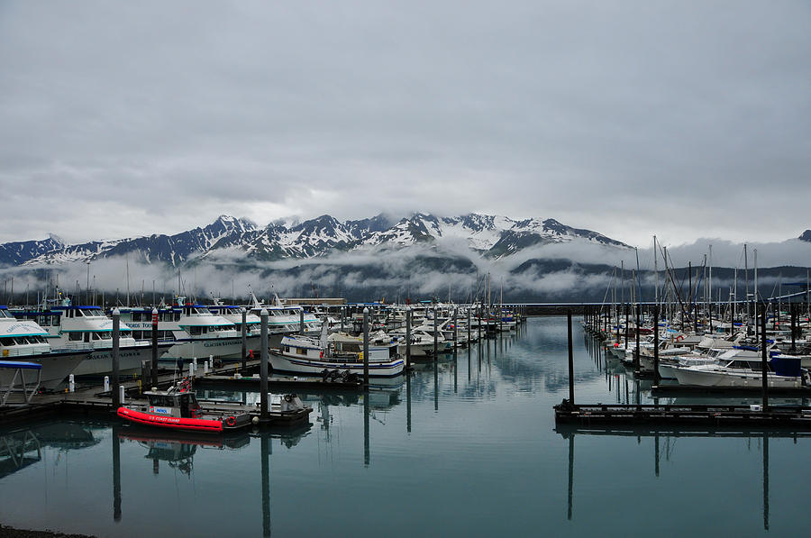 Color Image Photograph - Boats In Marina With Snow Capped by Jorge Fajl