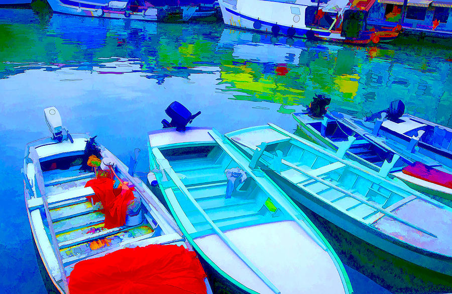 Framed Pyrography - Boats by Mauro Celotti