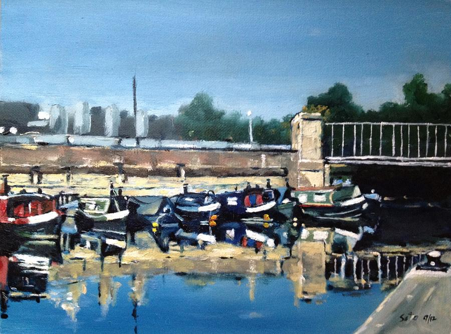 London Painting - Boats Of Regents Canal  London Uk by Victor SOTO