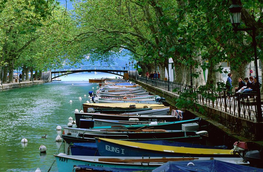 Horizontal Photograph - Boats On Canal Du Vasse, Annecy, Rhone-alpes, France, Europe by John Elk III