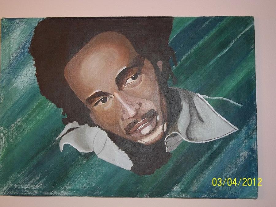 Portrait Painting - Bob Marley 2011 by Elaine Holloway