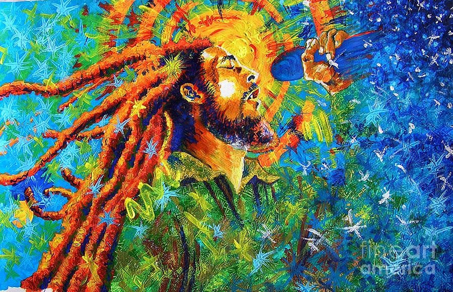 Bob Marley Painting - Bob Marleys Tribute by Jose Miguel Barrionuevo