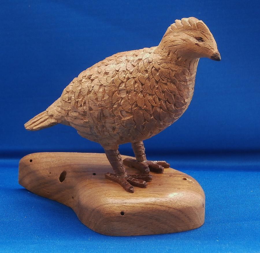 Wood Carving Sculpture - Bob White Quail by Russell Ellingsworth