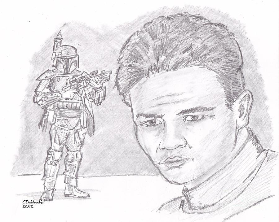 Boba Fett Drawing by Chris  DelVecchio