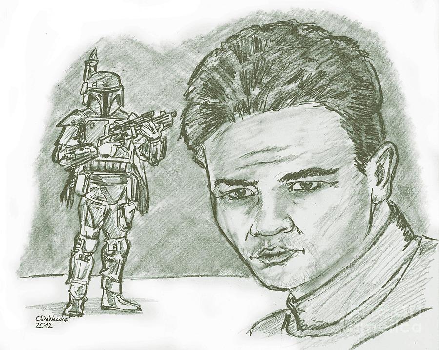 Drawing - Boba Fett Dk by Chris  DelVecchio