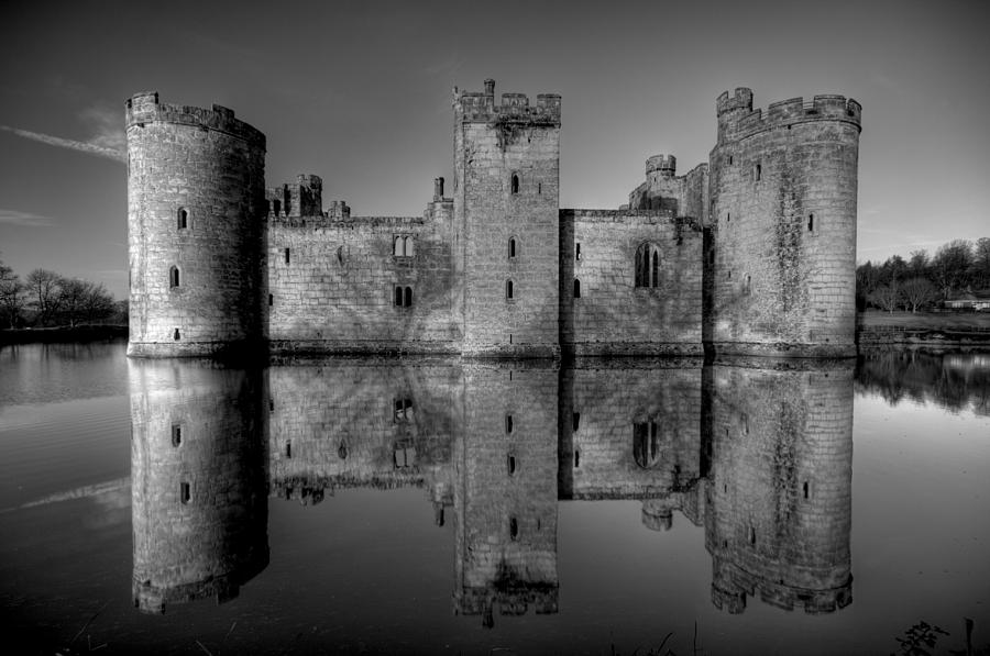 National Trust Photograph - Bodiam Castle In Mono by Mark Leader