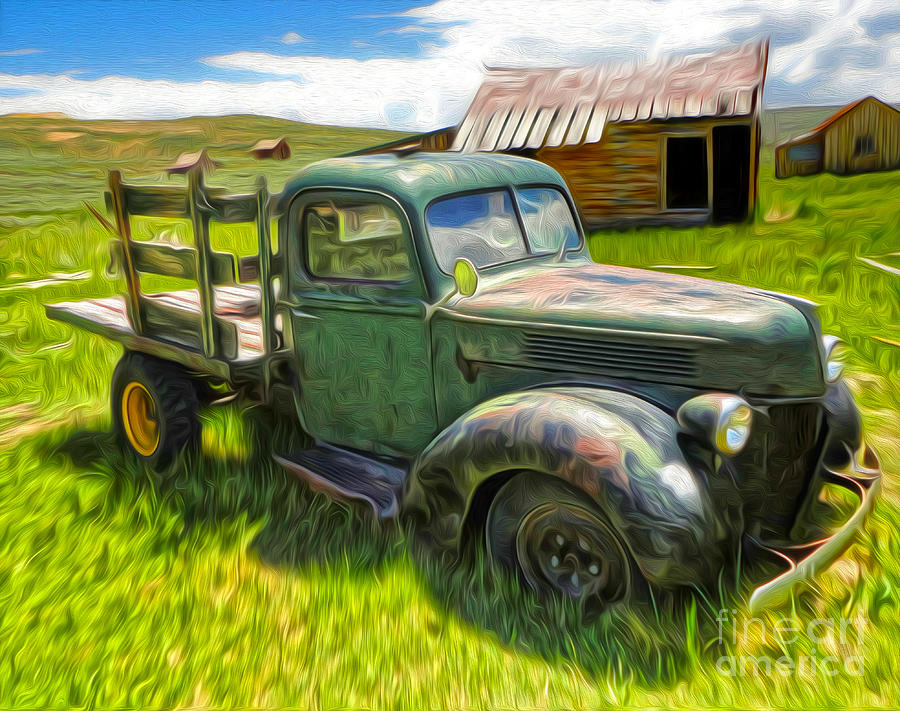 Bodie Ghost Town - Old Truck 01 Painting by Gregory Dyer