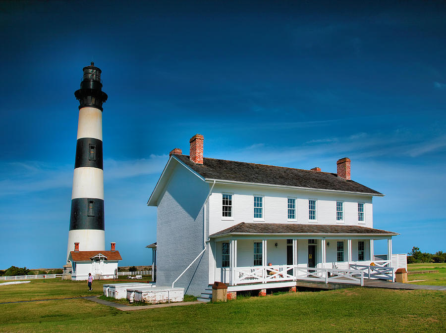 Light House Photograph - Bodie Island Lighthouse And Keepers Quarters by Steven Ainsworth