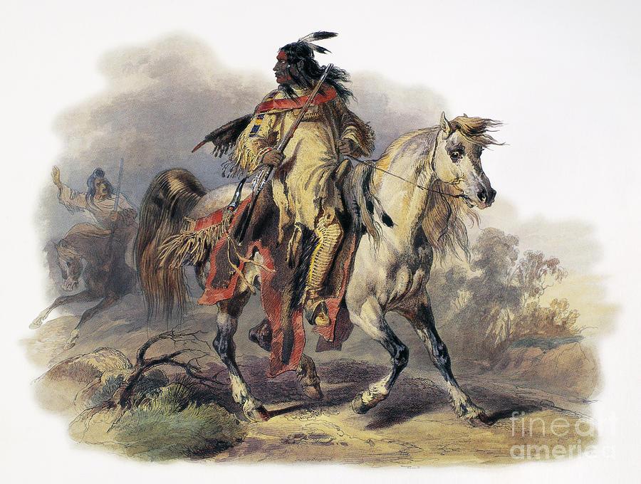 1844 Photograph - Bodmer: Blackfoot Horseman by Granger