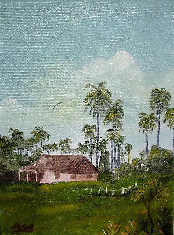 Cuba Painting - Bohio Y Palmeras by Maria Soto Robbins