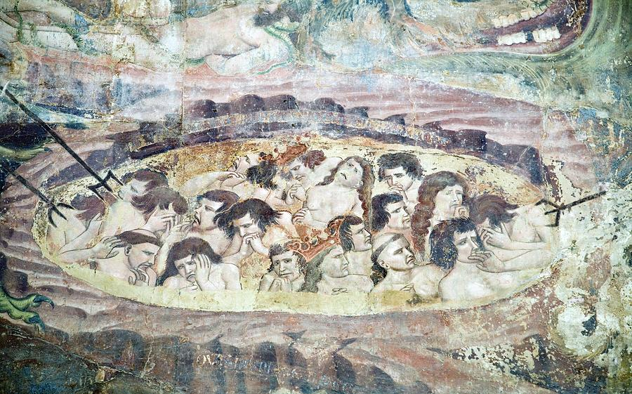 Human Photograph - Boiling In Hell, 14th Century Fresco by Sheila Terry