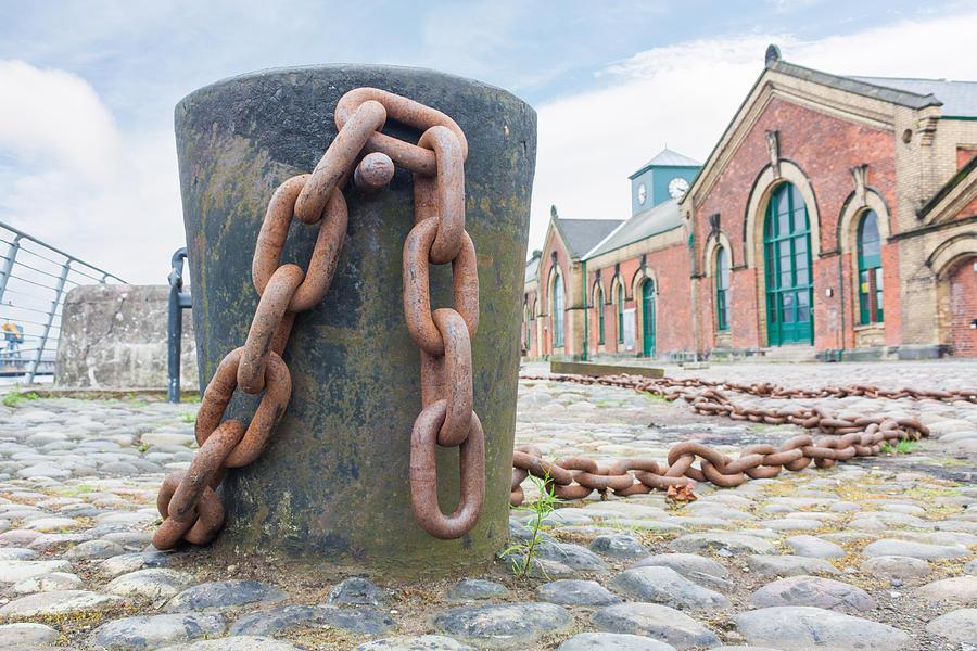 Sky Photograph - Bollard And Chain by Semmick Photo