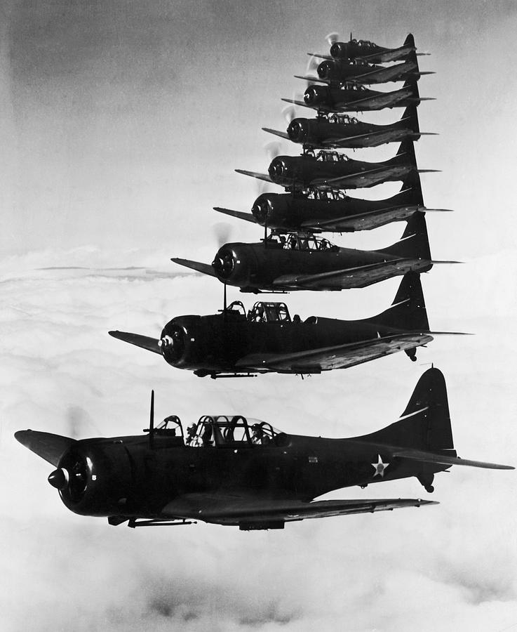 Vertical Photograph - Bombers In Flight by Archive Photos