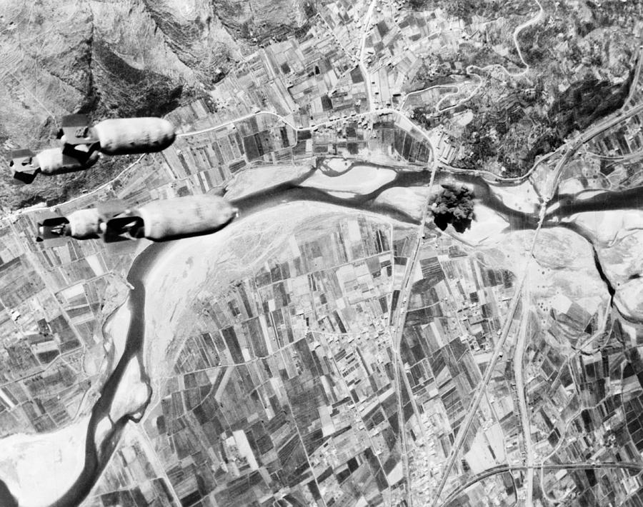 Birdseye View Photograph - Bombs Hurtle Toward A Nazi Highway by Everett