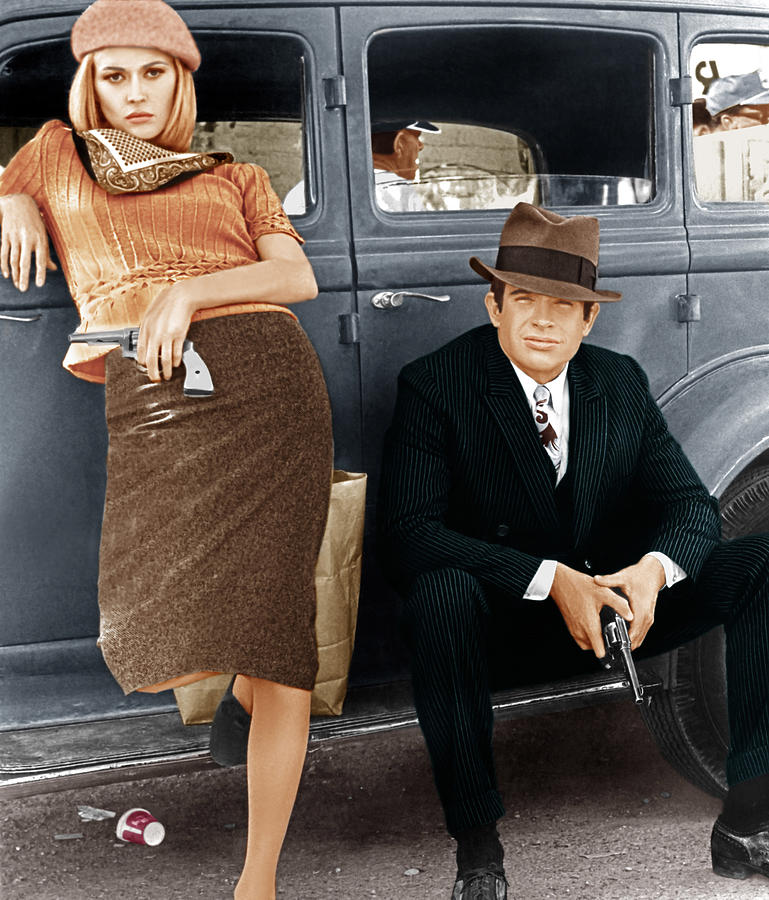 1930s Car Photograph - Bonnie And Clyde, From Left Faye by Everett