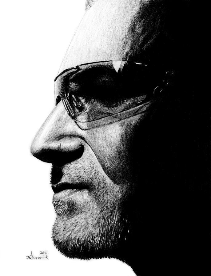 Bono Drawing - Bono - Half The Man by Kayleigh Semeniuk