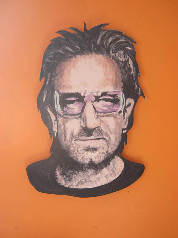 Bono Painting - Bono Mural On Board by Brendan Melia