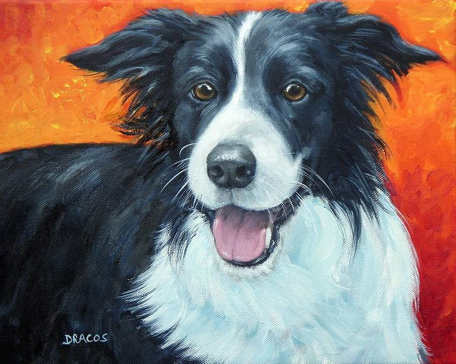 Border Collie Painting - Border Collie On Red by Dottie Dracos