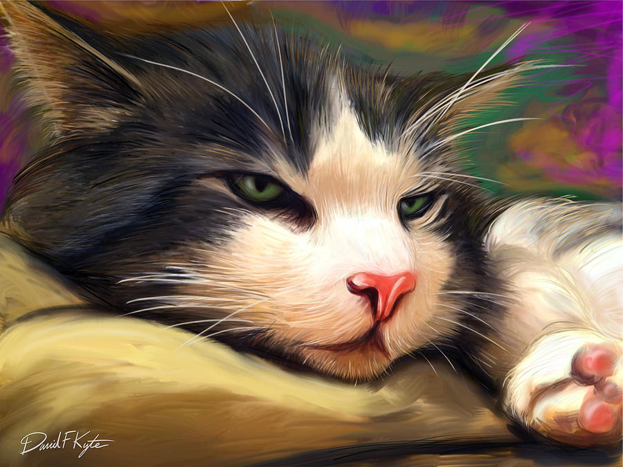 Cat Painting - Bored Cat by David Kyte