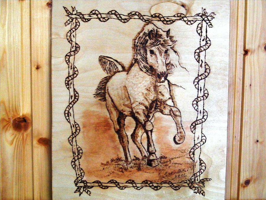 Born To Be Free-sylver  Horse Pyrography Pyrography by Egri George-Christian