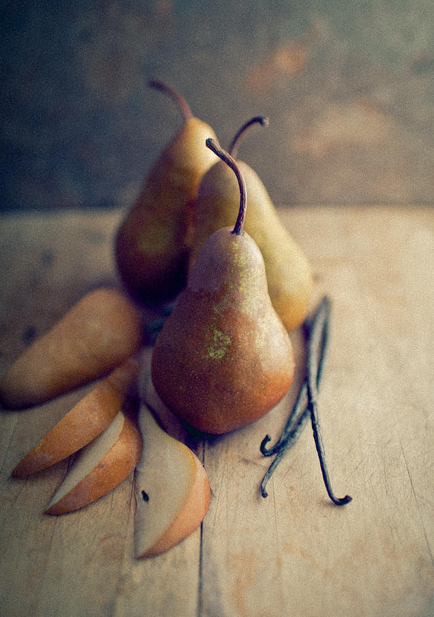 Pear Photograph - Bosc Pears And Vanilla Beans by Anna Hoychuk