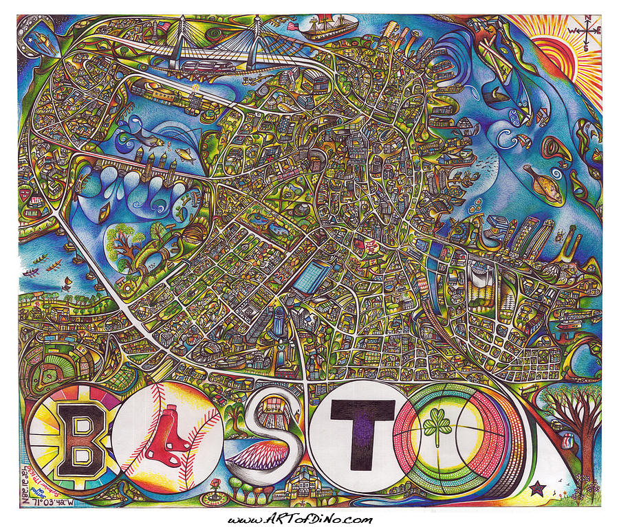 Boston Art Map Drawing By Jonathan Dino Dinapoli