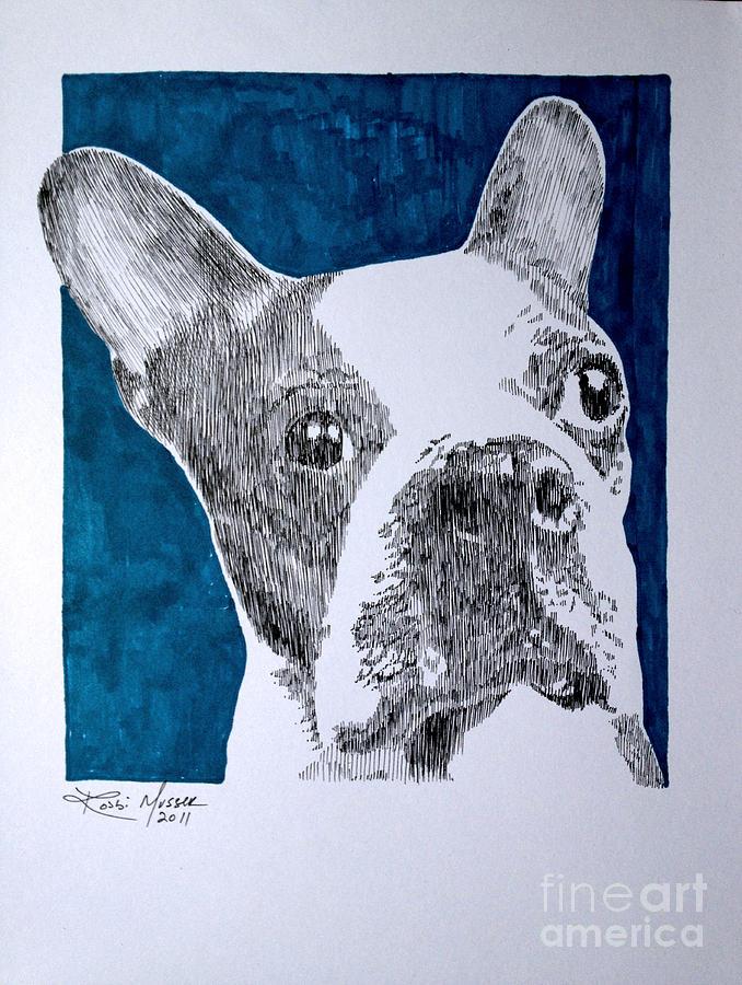 Boston Terrier Drawing - Boston In Blue by Robbi  Musser