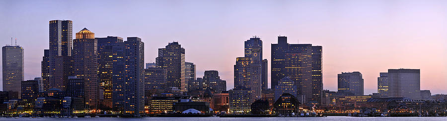 Boat Photograph - Boston skyline at sunset by Sebastien Coursol