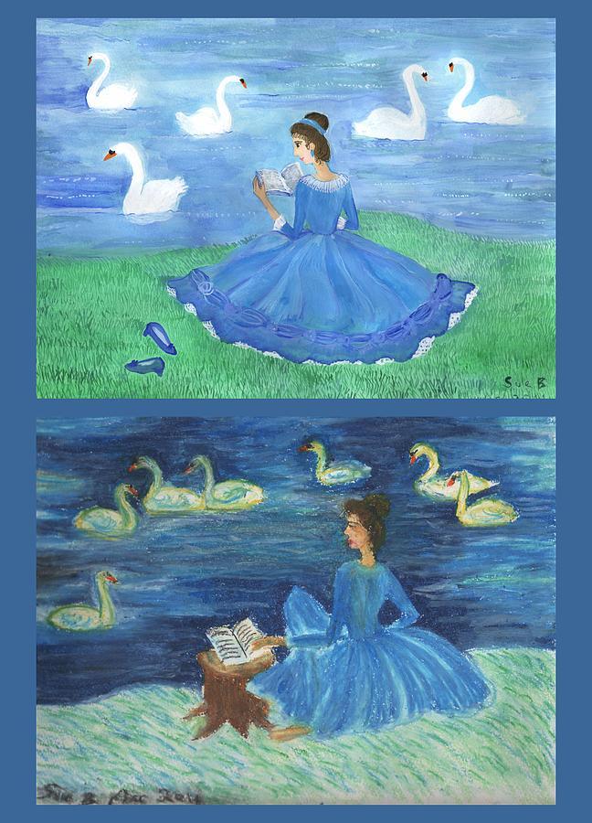 Swans Painting - Both Swan Lake Readers by Sushila Burgess