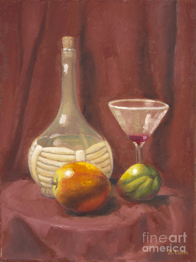 Wine Bottle Painting - Bottle Glass And Fruits by Bruce Lum