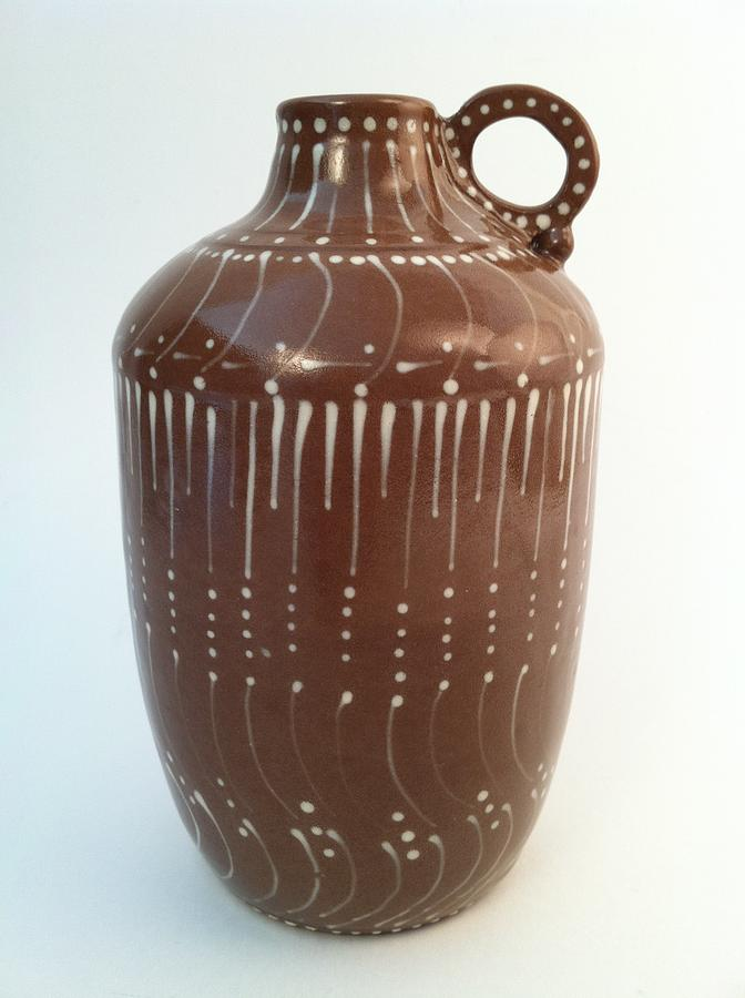 Hand-made Ceramic Art - Bottle Of Deep Red Clay With White Slip Decoration And A Handle by Carolyn Coffey Wallace
