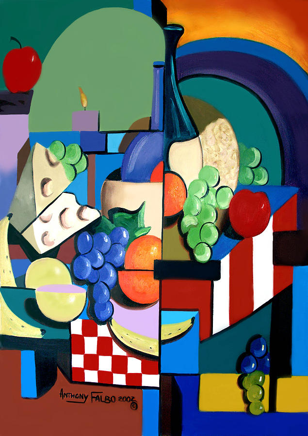 Wine Painting - Bottle Of Wine Fruit Of The Vine by Anthony Falbo