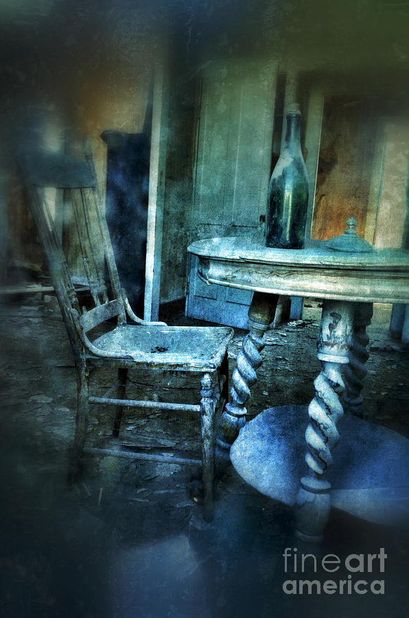 Room Photograph - Bottle On Table In Abandoned House by Jill Battaglia