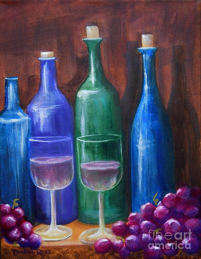 Blue Bottles Painting - Bottles And Grapes by Pauline Ross