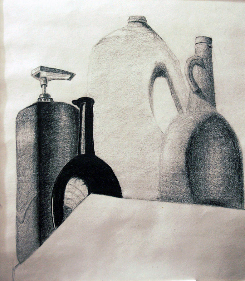 Still Life Drawing - Bottles by Michael Ringwalt