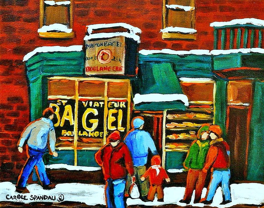 Bagels Painting - Boulangerie St.viateur Scene De Rue De Montreal En Hiver by Carole Spandau