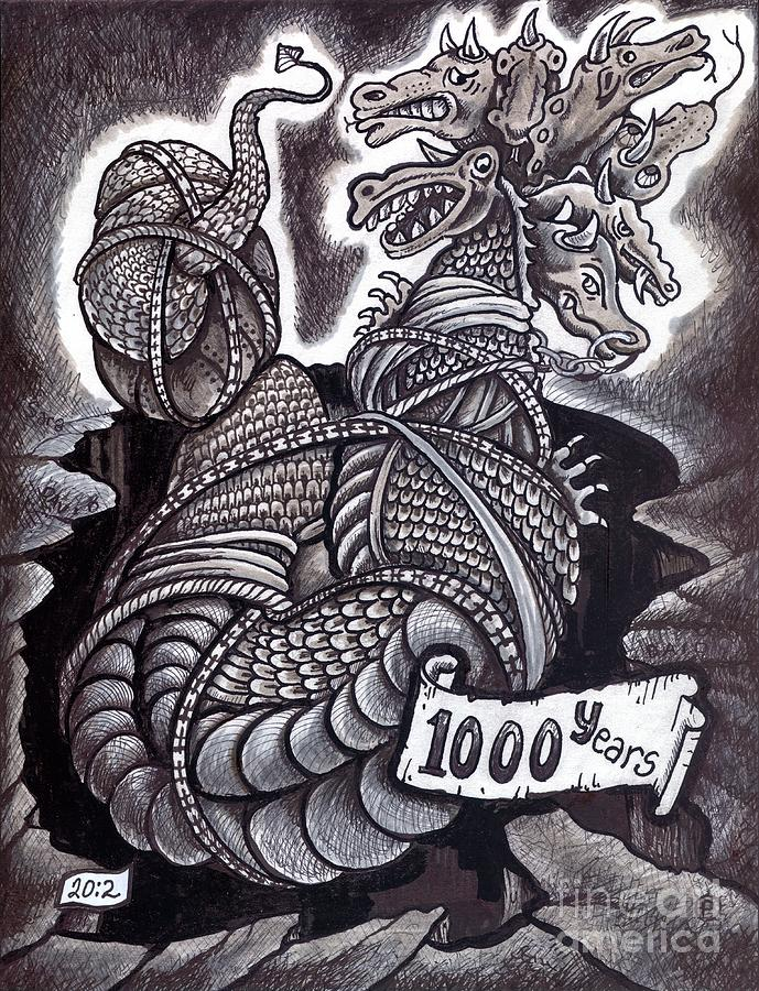 Dragon Drawing - Bound by Peter Olsen