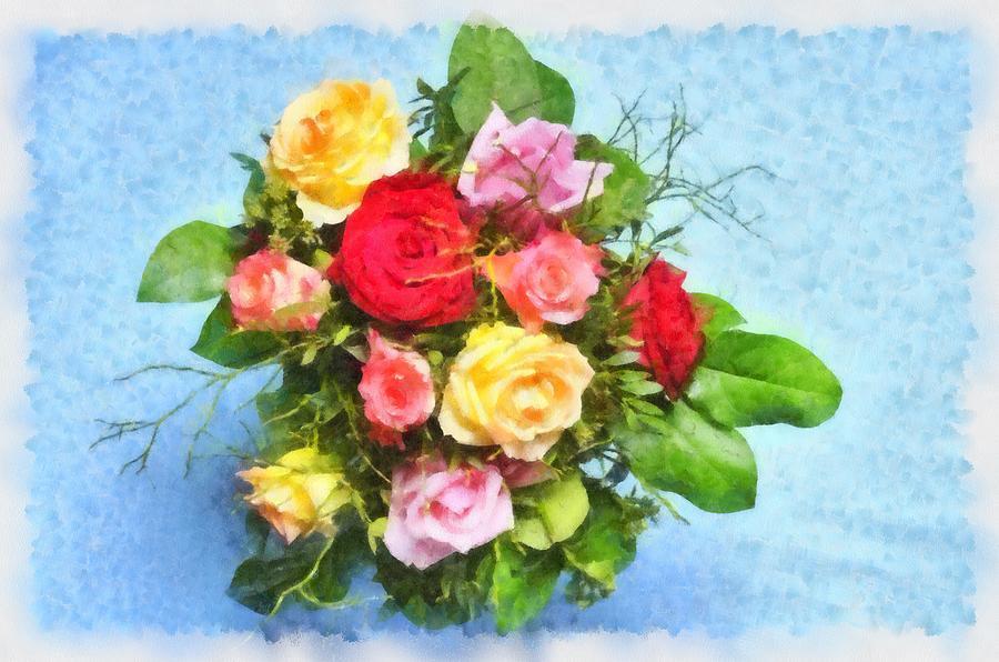 Flowers Digital Art - Bouquet Of Colorful Flowers - Digital Watercolor Painting by Matthias Hauser