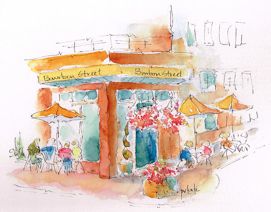 Impressionism Painting - Bourbon Street Restaurant In Bend by Pat Katz