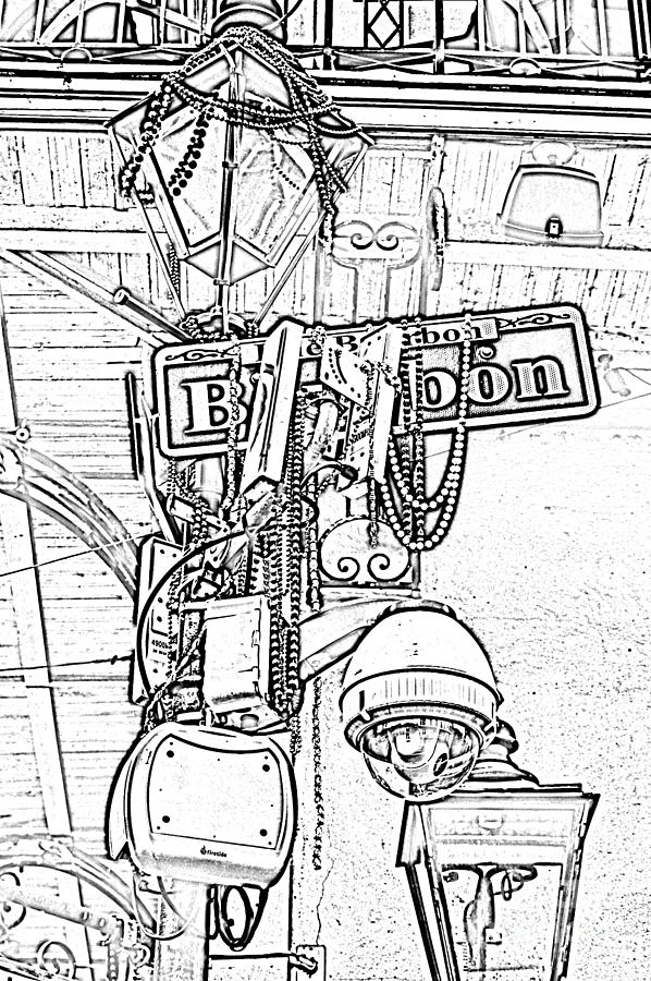 New Orleans Digital Art - Bourbon Street Sign And Lamp Covered In Beads Black And White Photocopy Digital Art by Shawn OBrien