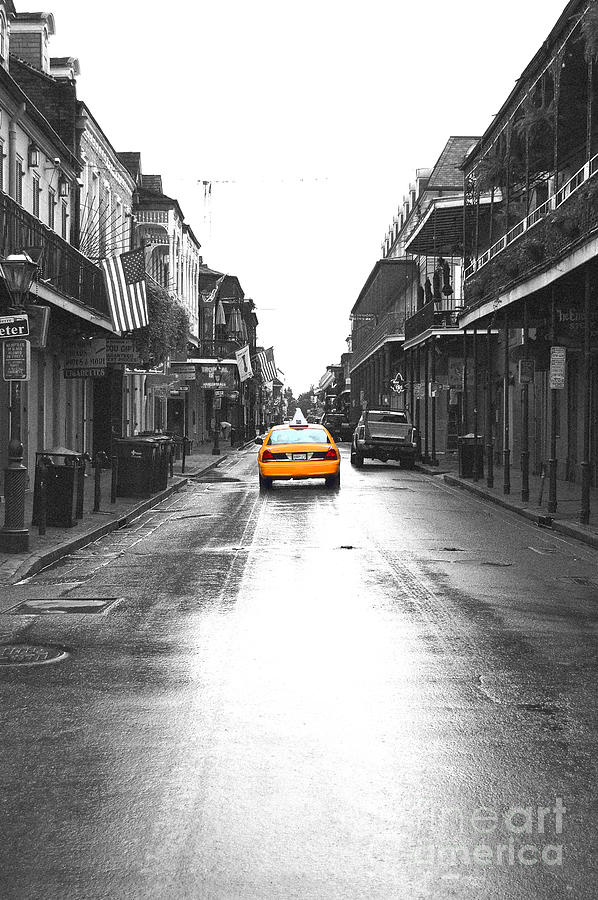French quarter photograph bourbon street taxi french quarter new orleans color splash black and white