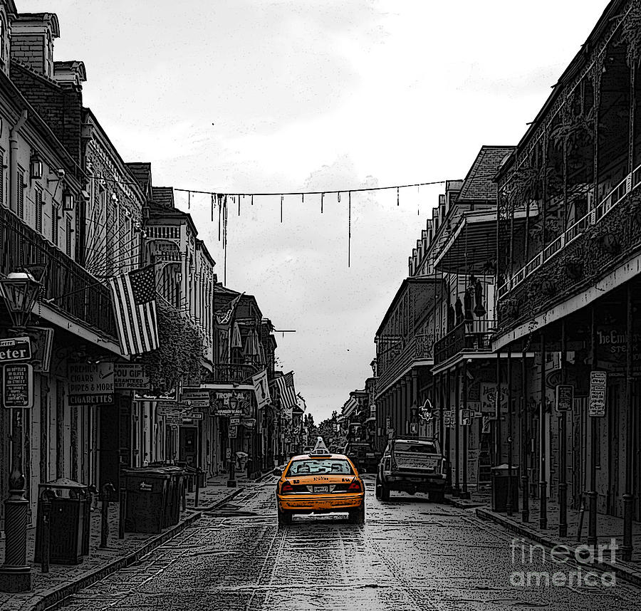 New orleans digital art bourbon street taxi french quarter new orleans color splash black and
