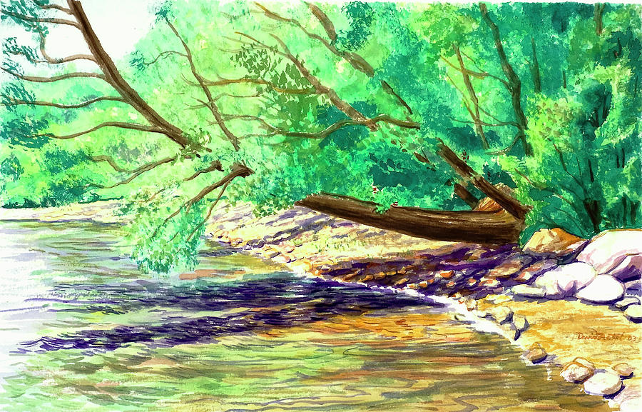 Watercolor Painting - Bow String Overhang by David Bratzel