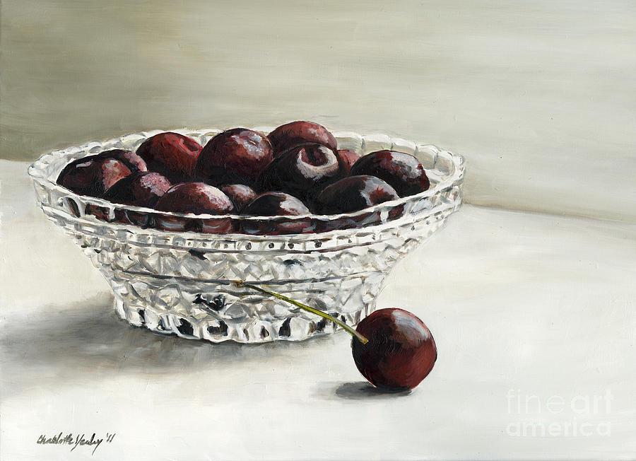 Cherries Painting - Bowl Full Of Cherries by Charlotte Yealey