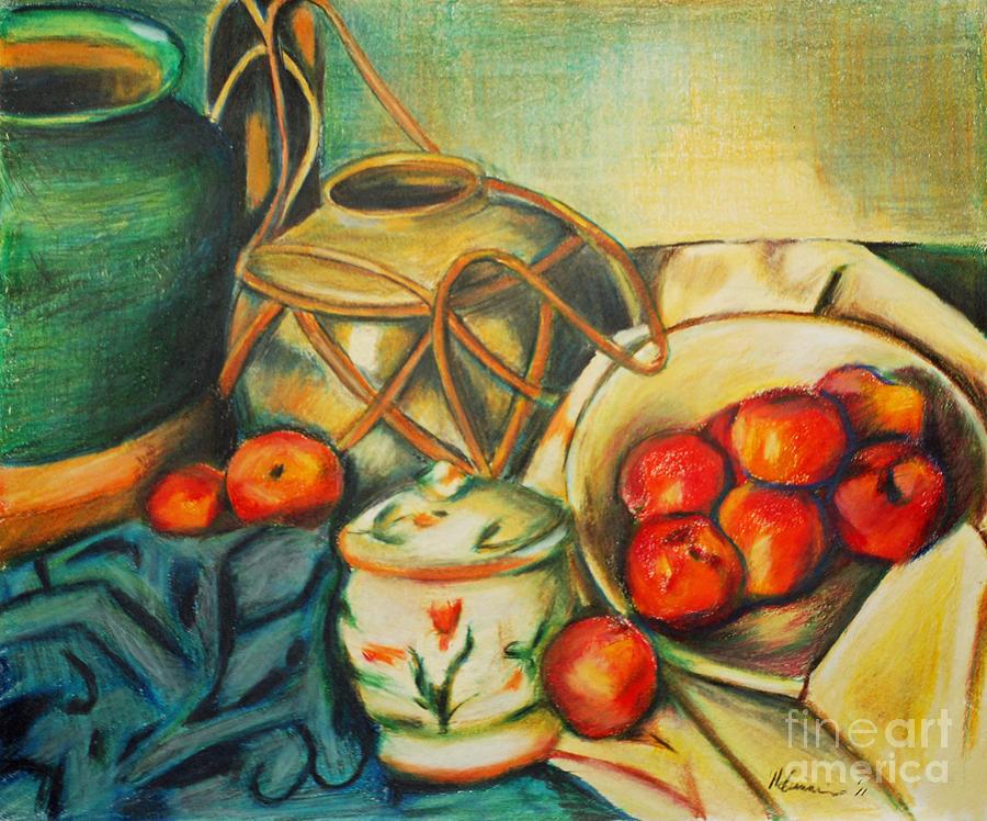 Still Life Drawing - Bowl Of Peaches by Joe McGinnis