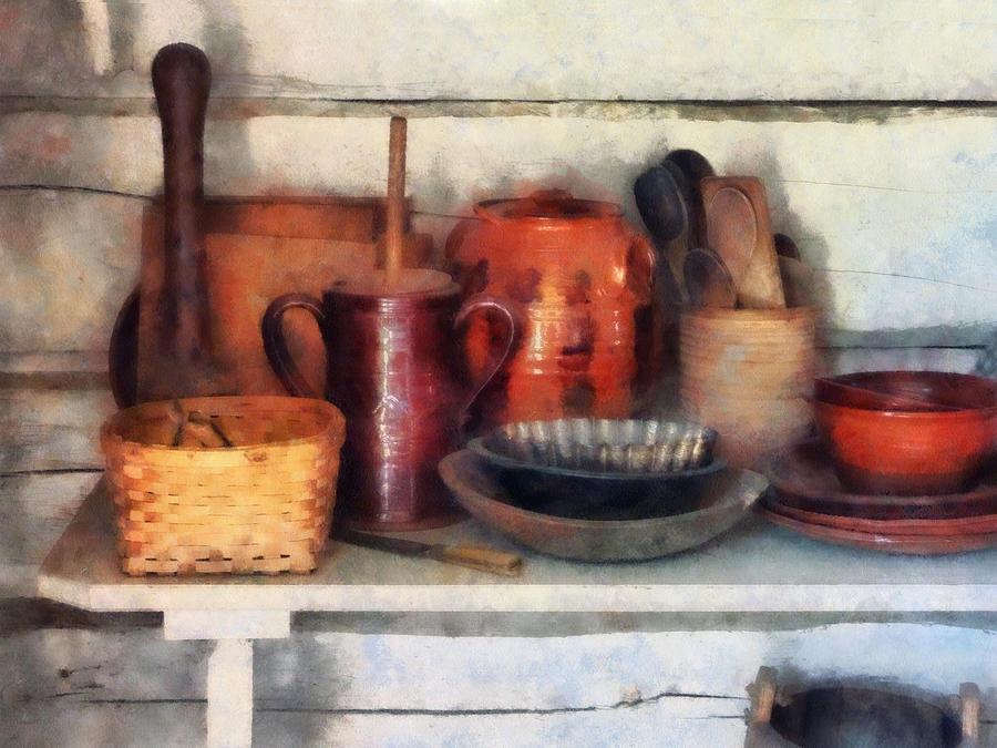 Bowl Photograph - Bowls Basket And Wooden Spoons by Susan Savad