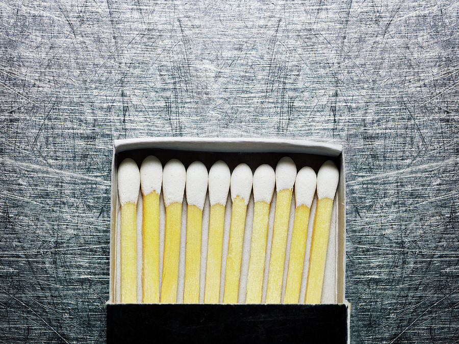 Horizontal Photograph - Box Of Wooden Matches On Stainless Steel. by Ballyscanlon