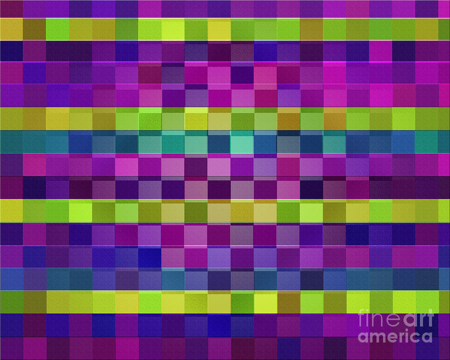 Purple Digital Art - Boxed Diamonds Abstract Pattern by Michelle Bergersen
